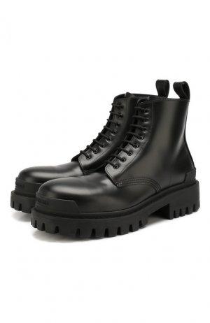 Кожаные ботинки Strike Balenciaga. Цвет: чёрный
