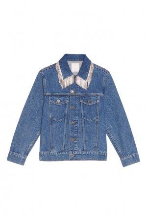 Джинсовая куртка с бахромой из стразов Sandro. Цвет: синий