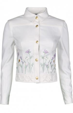 Джинсовая куртка с вышивкой и декоративной шнуровкой Alexander McQueen. Цвет: белый