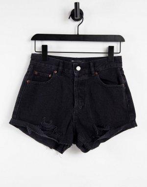 Свободные джинсовые шорты выбеленного черного цвета с классической талией и рваной отделкой Hourglass-Черный цвет ASOS DESIGN