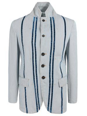 Хлопковый пиджак с принтом Ann Demeulemeester. Цвет: разноцветный