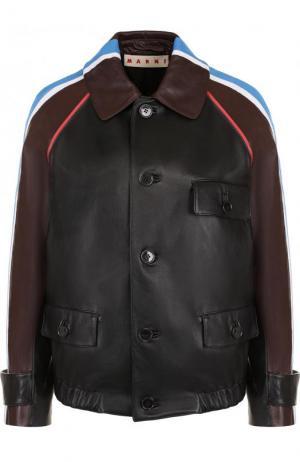 Кожаная куртка с отложным воротником и контрастной отделкой Marni. Цвет: черный