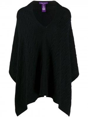 Кашемировое пончо фактурной вязки Ralph Lauren Collection. Цвет: черный