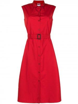 Платье-рубашка с поясом Aspesi. Цвет: красный