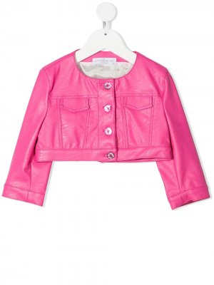 Укороченная куртка из искусственной кожи Colorichiari. Цвет: розовый