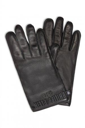 Черные перчатки с логотипом Philipp Plein. Цвет: черный