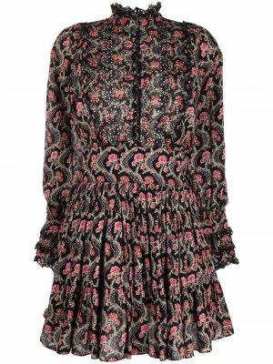 Платье мини с цветочным принтом byTiMo. Цвет: черный