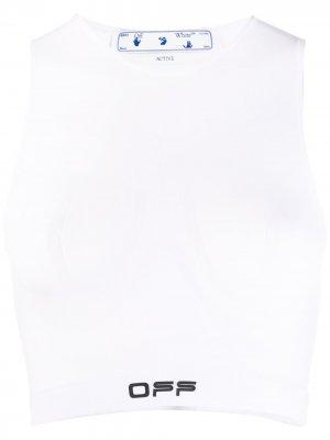 Спортивный бюстгальтер Off-White. Цвет: белый