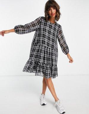 Черное свободное платье мини в клетку Jeanne-Черный цвет In Wear