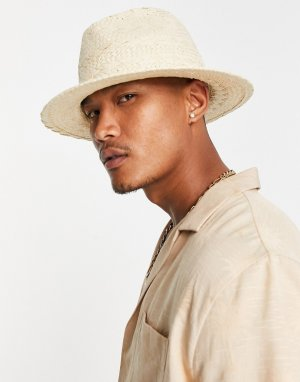 Бежевая соломенная шляпа-федора с плетеной отделкой -Белый ASOS DESIGN