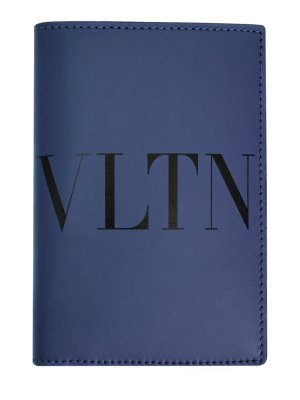 Визитница VLTN из гладкой телячьей кожи VALENTINO GARAVANI. Цвет: синий