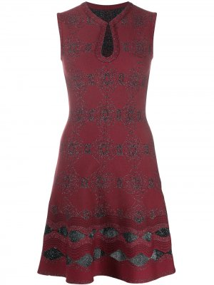 Расклешенное платье с абстрактной вышивкой Alaïa Pre-Owned. Цвет: красный