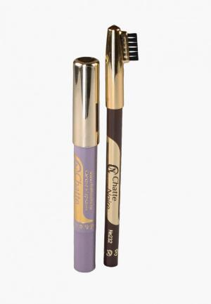 Набор для макияжа бровей Chatte Noire Карандаш + Карандаш-тени №104, 2,85. Цвет: разноцветный