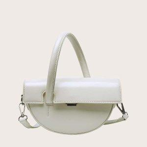 Сумка-полукруглая сумка-портфель SHEIN. Цвет: белый