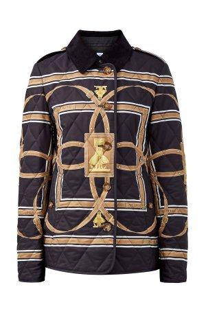 Утепленная стеганая куртка с архивным принтом BURBERRY. Цвет: мульти