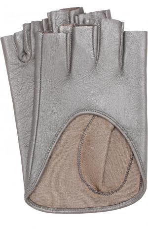 Кожаные митенки Sermoneta Gloves. Цвет: серебряный