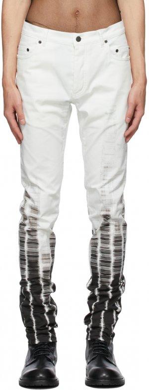 White Tie-Dye Jeans Ann Demeulemeester. Цвет: white