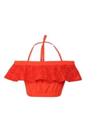 Хлопковый топ Fendi. Цвет: красный