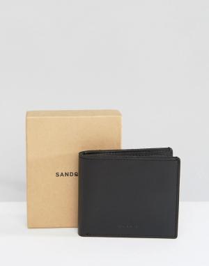 Черный кожаный кошелек Bill Sandqvist. Цвет: черный