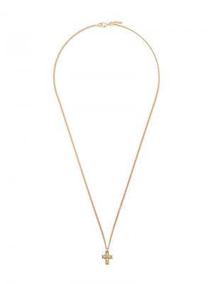 Колье с кулоном в форме креста Emanuele Bicocchi. Цвет: золотистый
