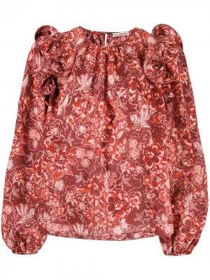 Блузка с цветочным принтом Ulla Johnson. Цвет: красный