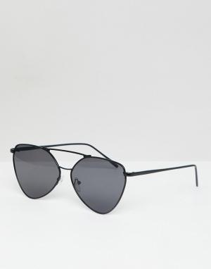 Черные солнцезащитные очки-авиаторы в металлической оправе AJ Morgan. Цвет: черный