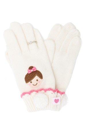 Перчатки для девочки MIKI HOUSE. Цвет: белый