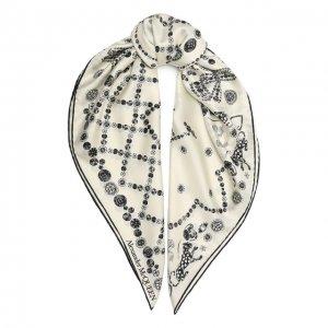 Шелковый платок Alexander McQueen. Цвет: белый