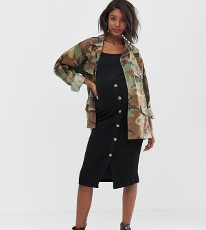 Трикотажная юбка миди для беременных с пуговицами Mamalicious-Черный Mama.licious