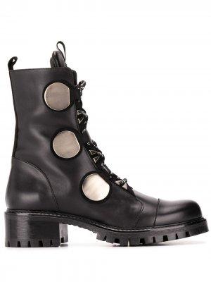 Декорированные ботинки с металлическими вставками Albano. Цвет: черный