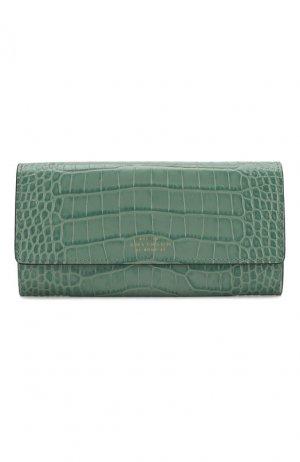 Кожаный кошелек Smythson. Цвет: зелёный