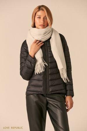 Широкий серый шарф с плетеной бахромой LOVE REPUBLIC