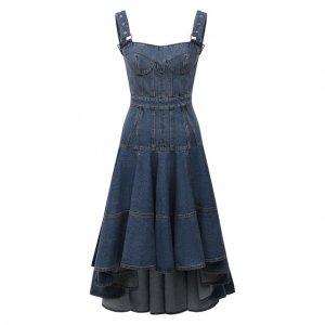 Джинсовое платье Alexander McQueen. Цвет: синий