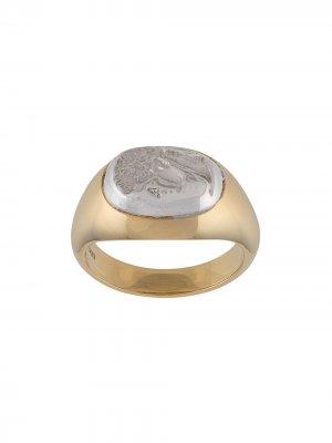 Позолоченный перстень Portrait of a Man VICTORIA STRIGINI. Цвет: золотистый