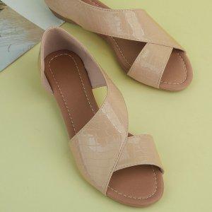 Обувь дорсе на плоской подошве с крокодиловым тиснением SHEIN. Цвет: aбрикосовый