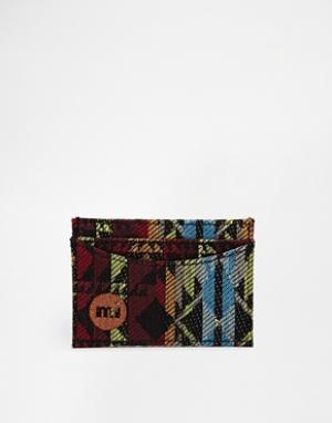 Визитница с тканой отделкой в ацтекском стиле Mi-Pac. Цвет: мульти