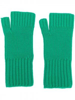 Перчатки в рубчик без пальцев AMI Paris. Цвет: зеленый