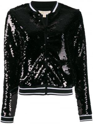 Куртка-бомбер с пайетками Michael Kors. Цвет: черный