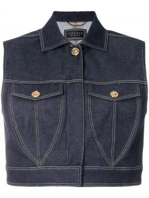 Укороченный джинсовый жилет Versace. Цвет: синий