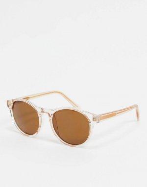 Круглые солнцезащитные очки с бежевой оправой -Бежевый A.Kjaerbede