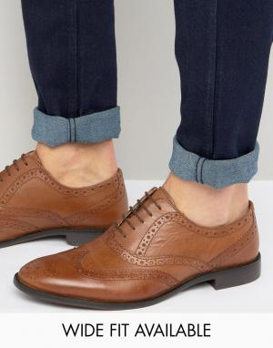 Светло-коричневые оксфордские туфли-броги из кожи ASOS DESIGN. Цвет: рыжий