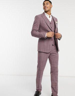 Костюмный пиджак зауженного кроя бордового цвета с эффектом перекрестной штриховки wedding-Красный ASOS DESIGN