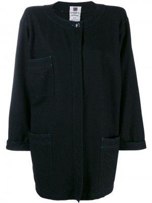 Пальто 1980-х годов свободного кроя без воротника Emanuel Ungaro Pre-Owned. Цвет: черный