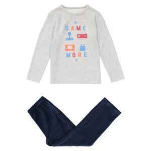 Пижама из велюра с принтом видеоигры 3 - 12 лет LA REDOUTE COLLECTIONS. Цвет: серый меланж