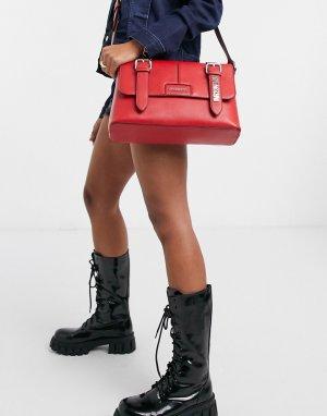 Красная сумка-портфель с ремешками и пряжками -Красный Love Moschino