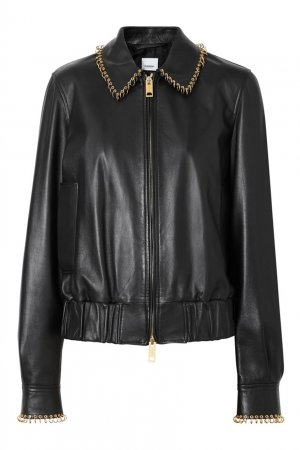 Кожаная куртка с металлическим декором Burberry. Цвет: черный