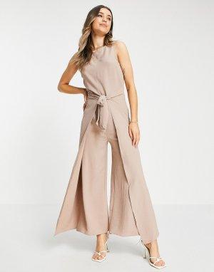 Комбинезон серо-коричневого цвета с завязкой на талии и завязками -Коричневый цвет Gilli