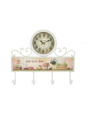 Коллаж-ключница с часами Sweet Home Русские подарки. Цвет: серый, бежевый, белый