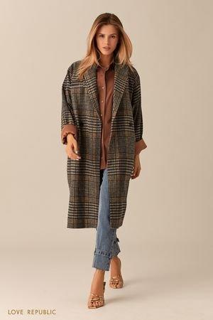 Пальто-кокон из шерстяной ткани с принтом LOVE REPUBLIC