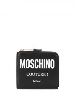 Кошелек на молнии с логотипом Couture Moschino. Цвет: черный